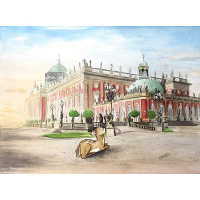 Neues Palais Aquarell