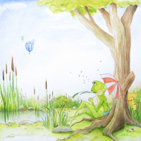 Aquarell: Frosch am See